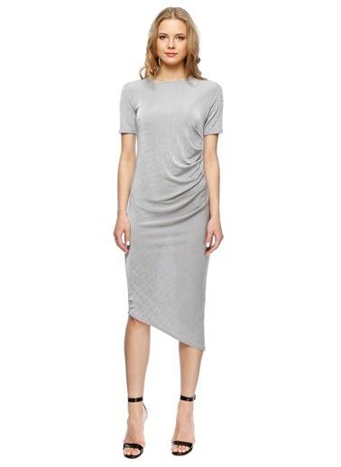 Missguided Yarım Kol Uzun Dar Elbise Gri
